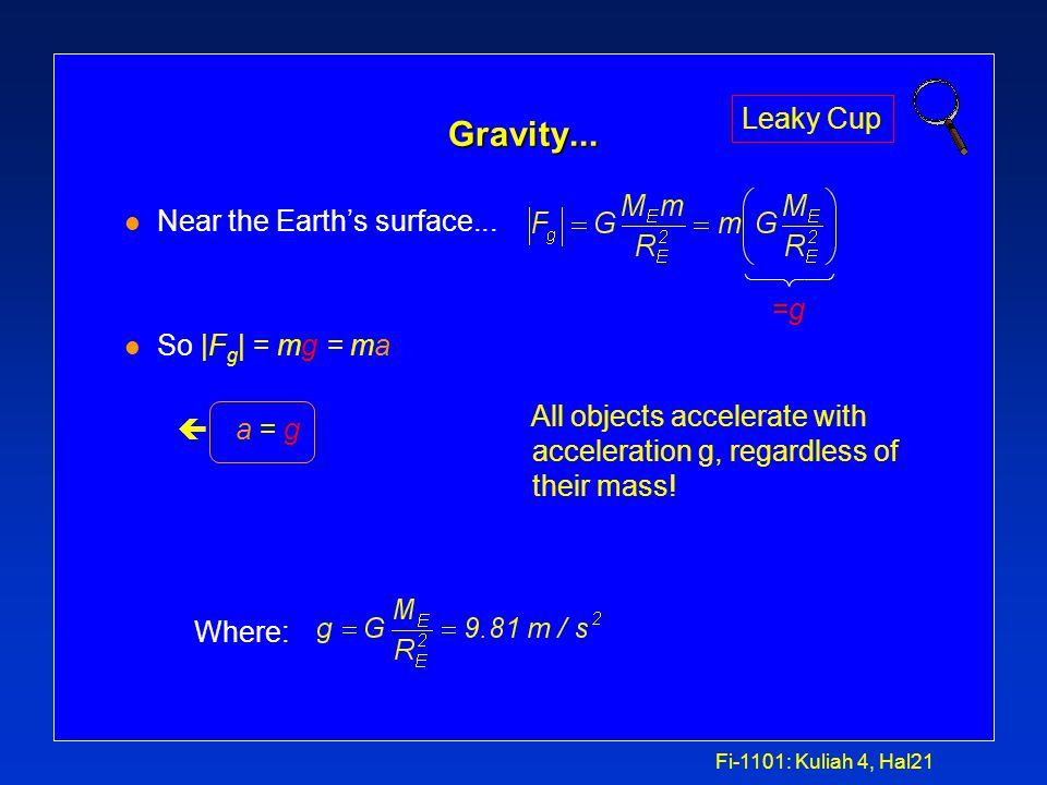 Fi-1101: Kuliah 4, Hal20 Gravitasi... l Near the Earth's surface: çR 12 = R E »Won't change much if we stay near the Earth's surface. »i.e. since R E
