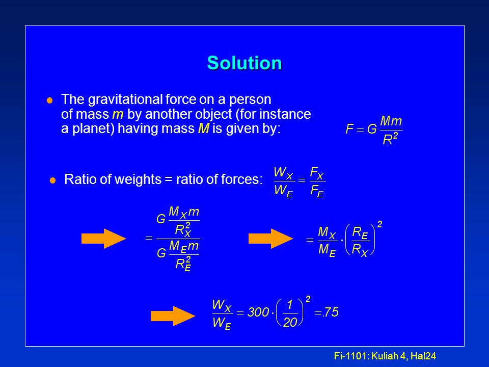 Fi-1101: Kuliah 4, Hal23 Example: Force and acceleration l Suppose you are standing on a bathroom scale in 141 Loomis and it says that your weight is