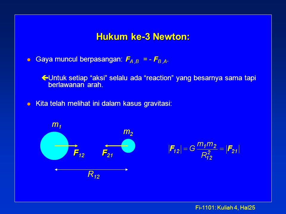 Fi-1101: Kuliah 4, Hal24 Solution l The gravitational force on a person of mass m by another object (for instance a planet) having mass M is given by: l Ratio of weights = ratio of forces:
