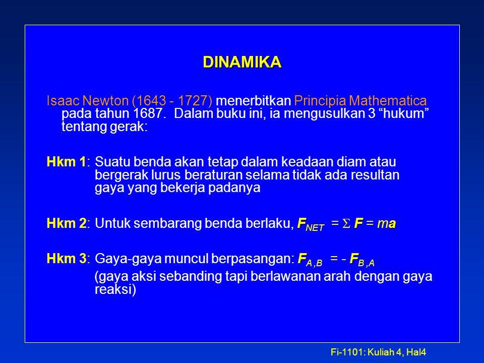Fi-1101: Kuliah 4, Hal4 DINAMIKA Isaac Newton (1643 - 1727) menerbitkan Principia Mathematica pada tahun 1687.