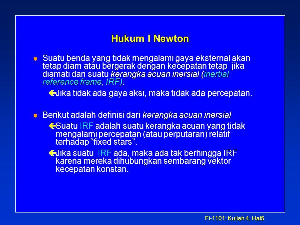 """Fi-1101: Kuliah 4, Hal4 DINAMIKA Isaac Newton (1643 - 1727) menerbitkan Principia Mathematica pada tahun 1687. Dalam buku ini, ia mengusulkan 3 """"hukum"""