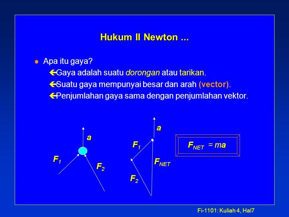 Fi-1101: Kuliah 4, Hal6 Hukum II Newton FFa Untuk sembarang benda, F NET =  F = ma. a F çPercepatan a dari suatu benda sebanding dengan total gaya F