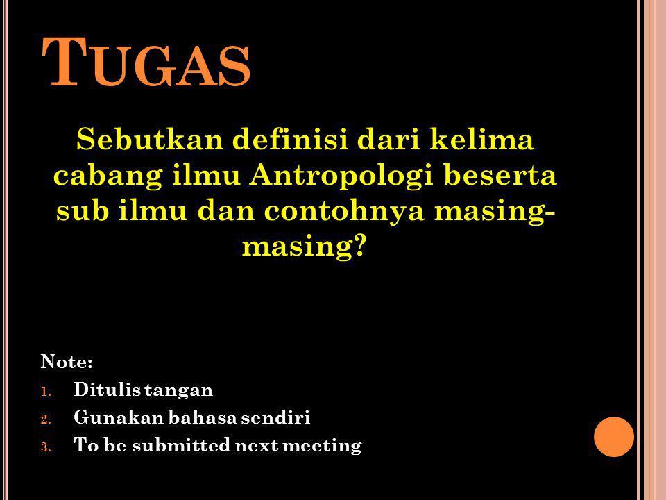 T UGAS Sebutkan definisi dari kelima cabang ilmu Antropologi beserta sub ilmu dan contohnya masing- masing? Note: 1. Ditulis tangan 2. Gunakan bahasa