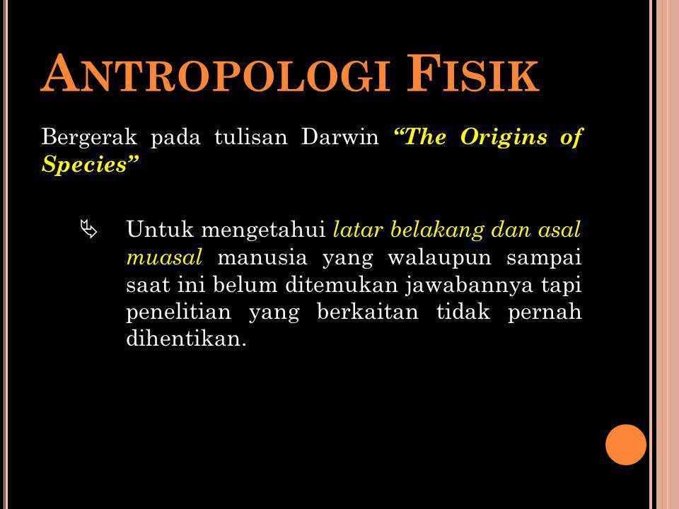 """A NTROPOLOGI F ISIK Bergerak pada tulisan Darwin """"The Origins of Species""""  Untuk mengetahui latar belakang dan asal muasal manusia yang walaupun samp"""