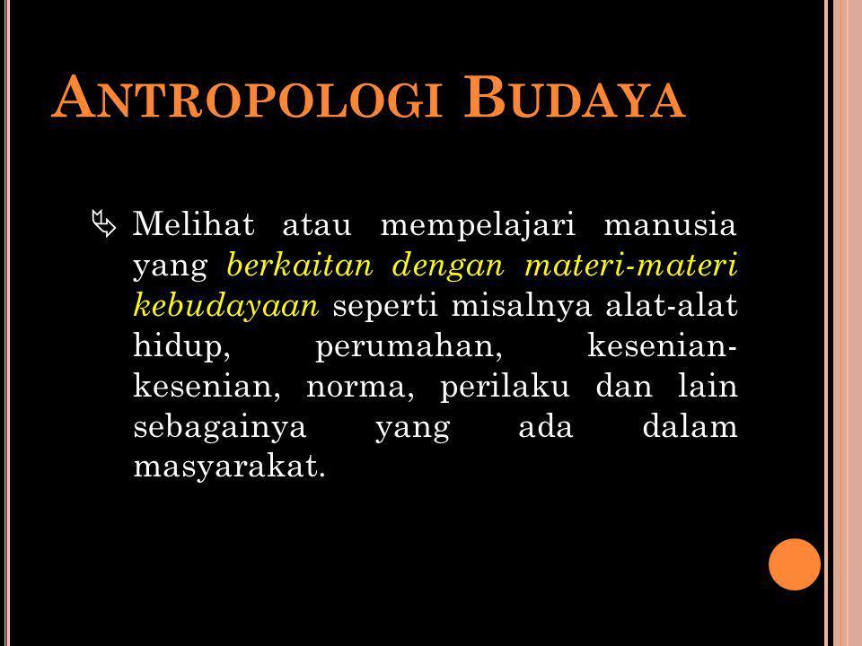 A NTROPOLOGI B UDAYA  Melihat atau mempelajari manusia yang berkaitan dengan materi-materi kebudayaan seperti misalnya alat-alat hidup, perumahan, ke