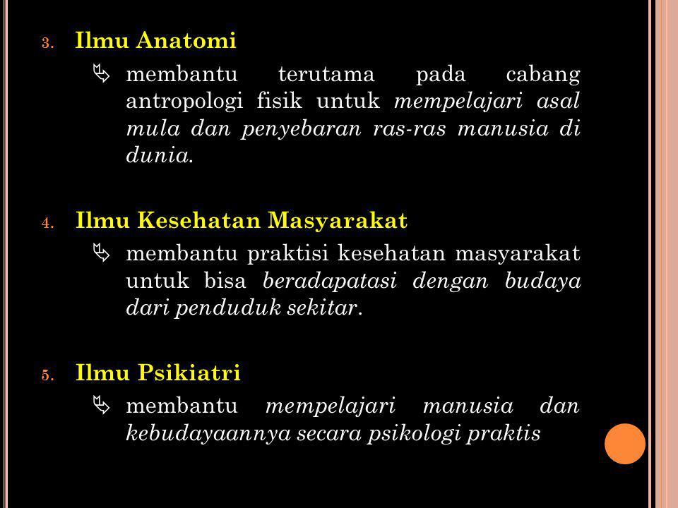 3. Ilmu Anatomi  membantu terutama pada cabang antropologi fisik untuk mempelajari asal mula dan penyebaran ras-ras manusia di dunia. 4. Ilmu Kesehat