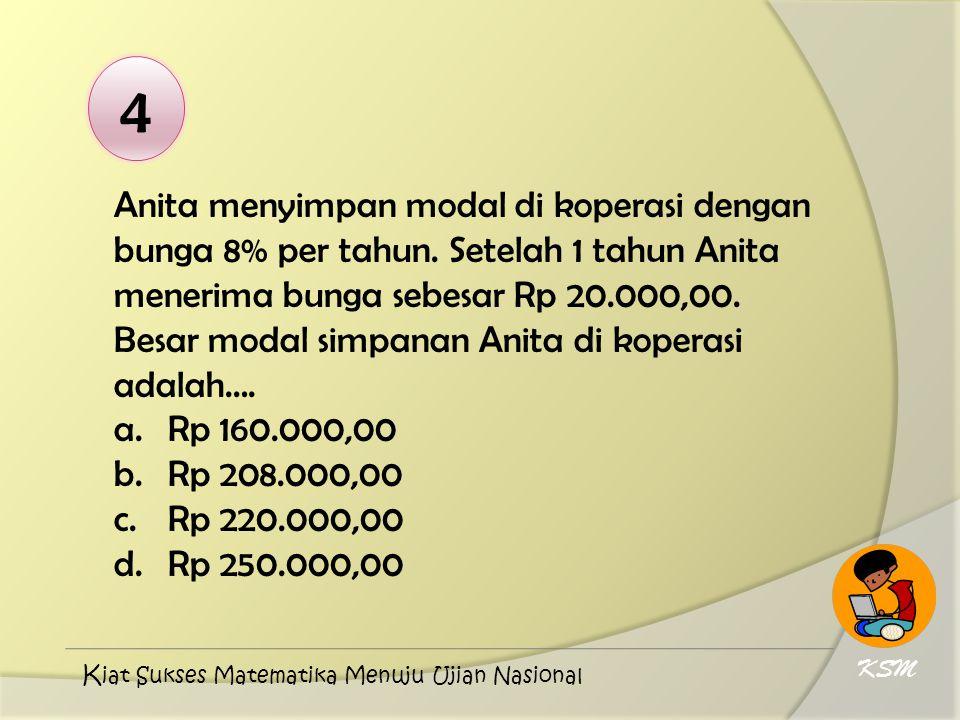 4 Anita menyimpan modal di koperasi dengan bunga 8% per tahun. Setelah 1 tahun Anita menerima bunga sebesar Rp 20.000,00. Besar modal simpanan Anita d