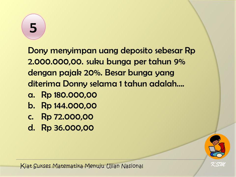 5 Dony menyimpan uang deposito sebesar Rp 2.000.000,00. suku bunga per tahun 9% dengan pajak 20%. Besar bunga yang diterima Donny selama 1 tahun adala