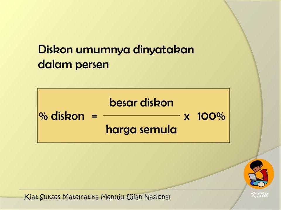Diskon umumnya dinyatakan dalam persen % diskon= besar diskon x100% harga semula KSM K iat Sukses Matematika Menuju Ujian Nasional
