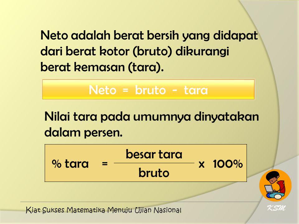 Neto adalah berat bersih yang didapat dari berat kotor (bruto) dikurangi berat kemasan (tara). Neto = bruto - tara Nilai tara pada umumnya dinyatakan