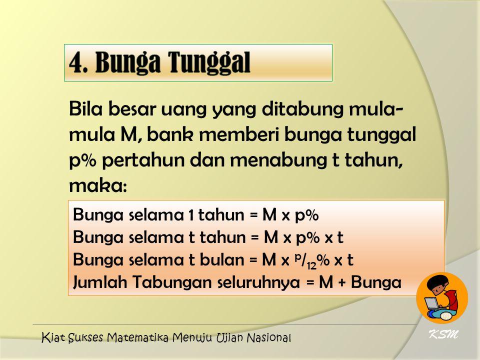 Bila besar uang yang ditabung mula- mula M, bank memberi bunga tunggal p% pertahun dan menabung t tahun, maka: Bunga selama 1 tahun = M x p% Bunga sel