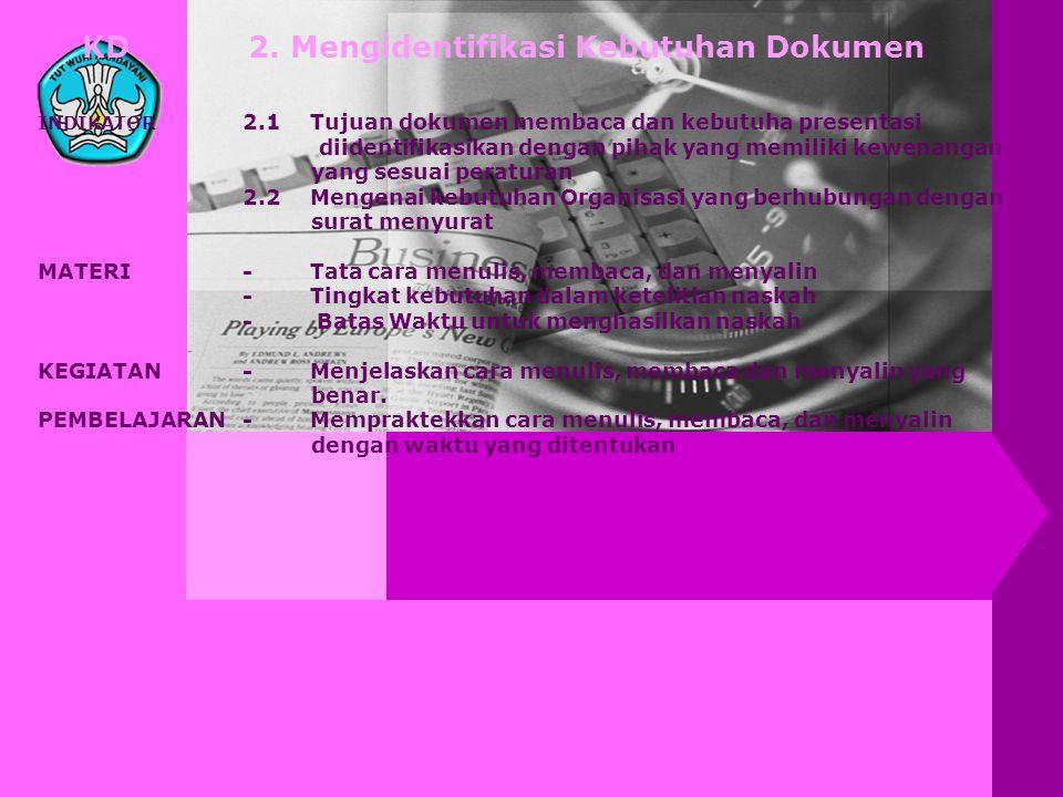 KD 2. Mengidentifikasi Kebutuhan Dokumen INDIKATOR 2.1 Tujuan dokumen membaca dan kebutuha presentasi diidentifikasikan dengan pihak yang memiliki kew