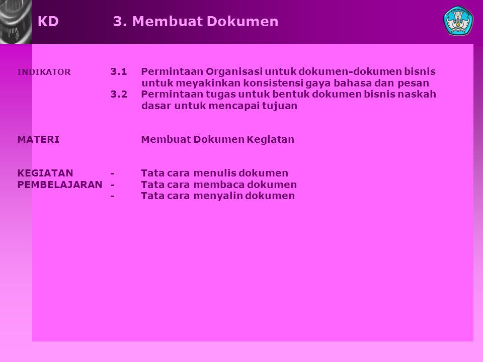 KD 3. Membuat Dokumen INDIKATOR 3.1 Permintaan Organisasi untuk dokumen-dokumen bisnis untuk meyakinkan konsistensi gaya bahasa dan pesan 3.2 Perminta