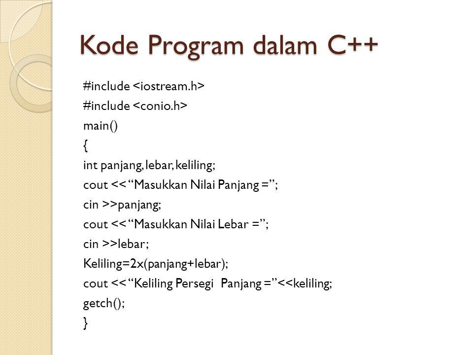 Kode Program dalam C++ #include main() { int panjang, lebar, keliling; cout << Masukkan Nilai Panjang = ; cin >>panjang; cout << Masukkan Nilai Lebar = ; cin >>lebar; Keliling=2x(panjang+lebar); cout << Keliling Persegi Panjang = <<keliling; getch(); }