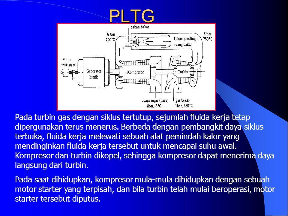 PLTG Pada turbin gas dengan siklus tertutup, sejumlah fluida kerja tetap dipergunakan terus menerus. Berbeda dengan pembangkit daya siklus terbuka, fl