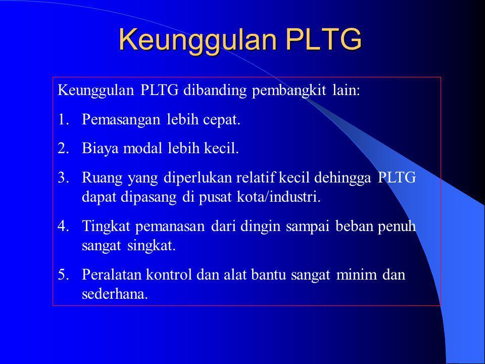 Keunggulan PLTG Keunggulan PLTG dibanding pembangkit lain: 1.Pemasangan lebih cepat. 2.Biaya modal lebih kecil. 3.Ruang yang diperlukan relatif kecil