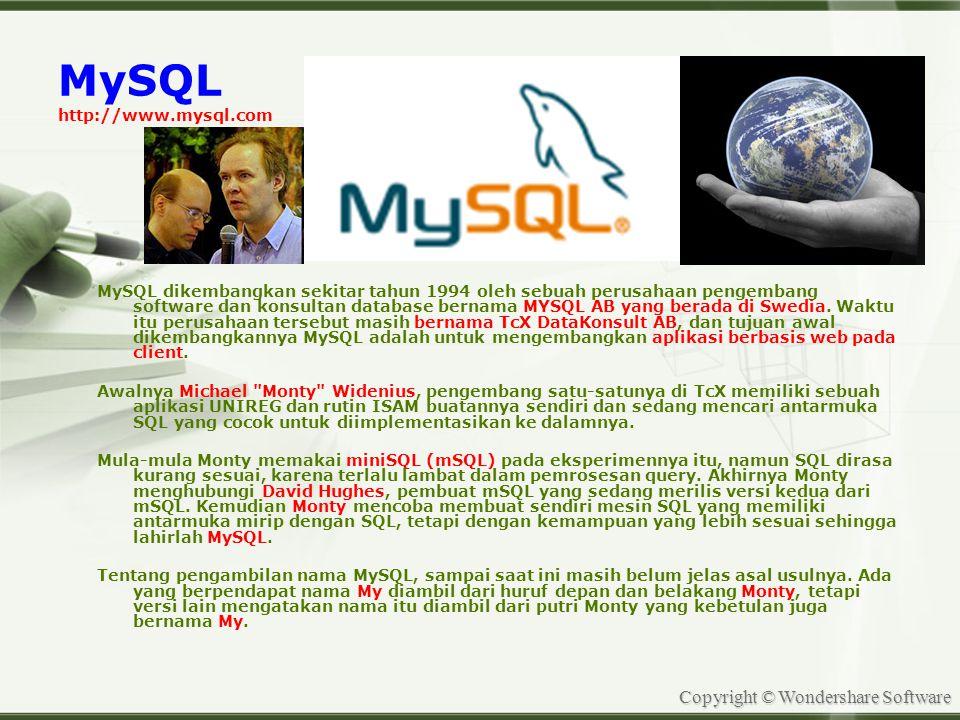 Copyright © Wondershare Software MySQL http://www.mysql.com MySQL dikembangkan sekitar tahun 1994 oleh sebuah perusahaan pengembang software dan konsultan database bernama MYSQL AB yang berada di Swedia.