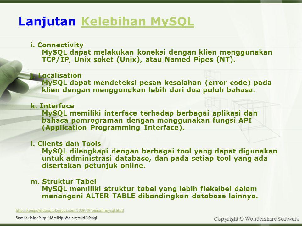 Copyright © Wondershare Software Menggunakan MySQL 1.Bekerja dengan Command Line 2.Bekerja Dengan Gate Way OF MySQL -Navicat -Xampp -WorkBanch -MySQL front -EMS SQL -dll