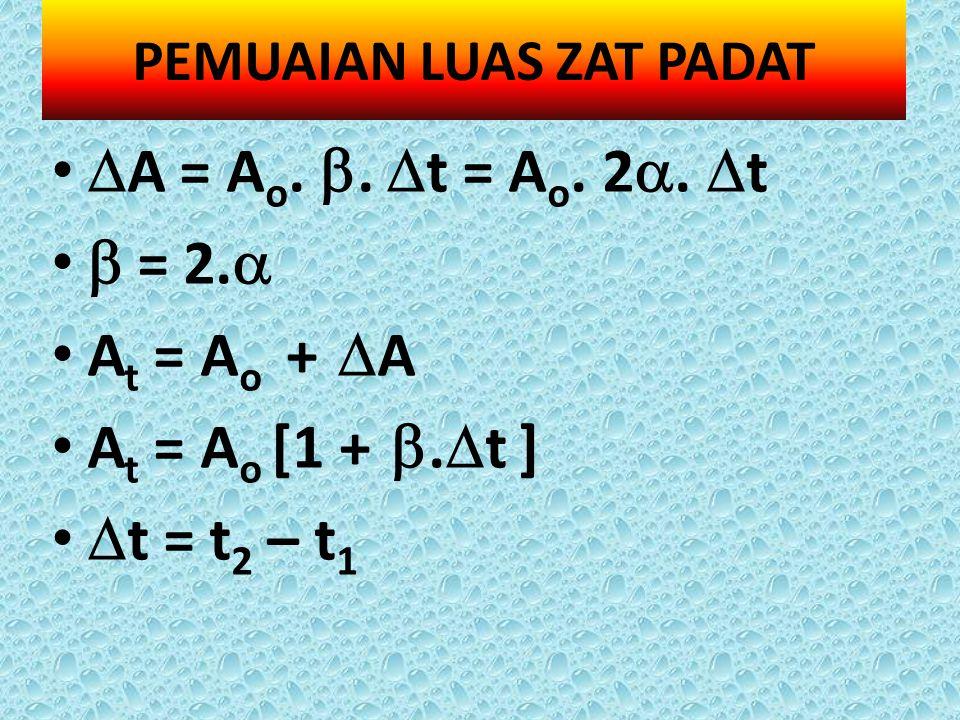  A = A o. .  t = A o. 2 .  t  = 2.  A t = A o +  A A t = A o [1 + .  t ]  t = t 2 – t 1 PEMUAIAN LUAS ZAT PADAT
