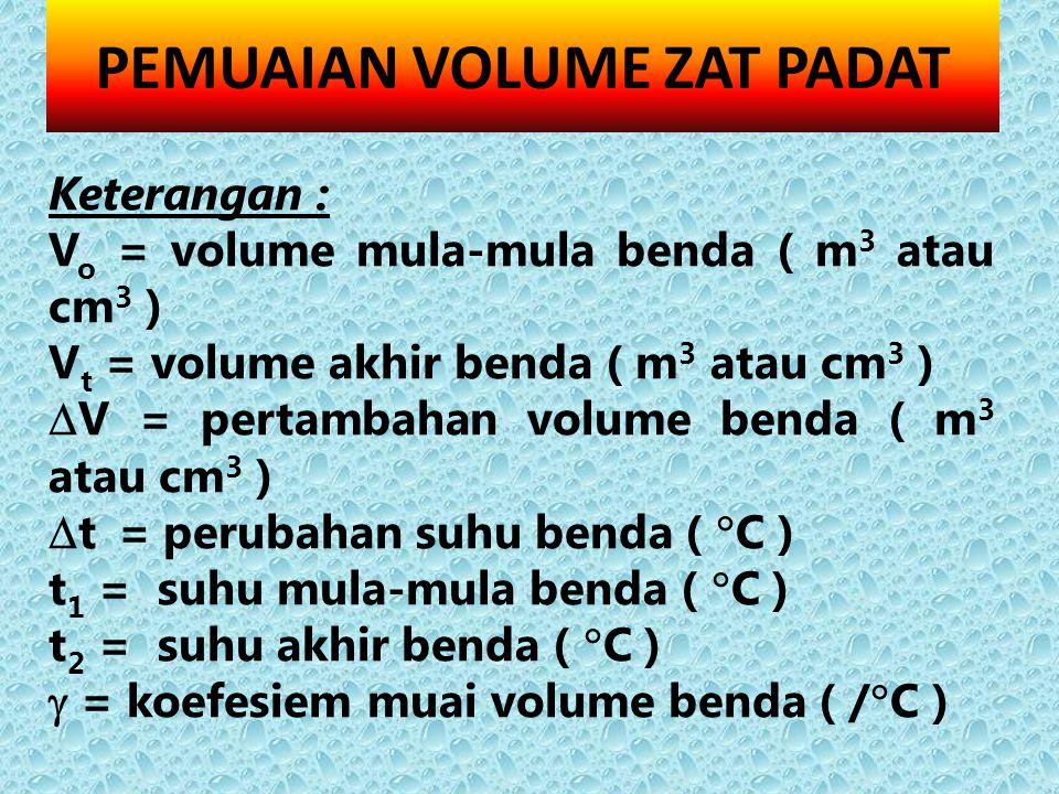 Keterangan : V o = volume mula-mula benda ( m 3 atau cm 3 ) V t = volume akhir benda ( m 3 atau cm 3 )  V = pertambahan volume benda ( m 3 atau cm 3