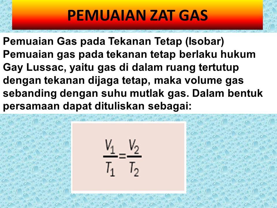 PEMUAIAN ZAT GAS Pemuaian Gas pada Tekanan Tetap (Isobar) Pemuaian gas pada tekanan tetap berlaku hukum Gay Lussac, yaitu gas di dalam ruang tertutup