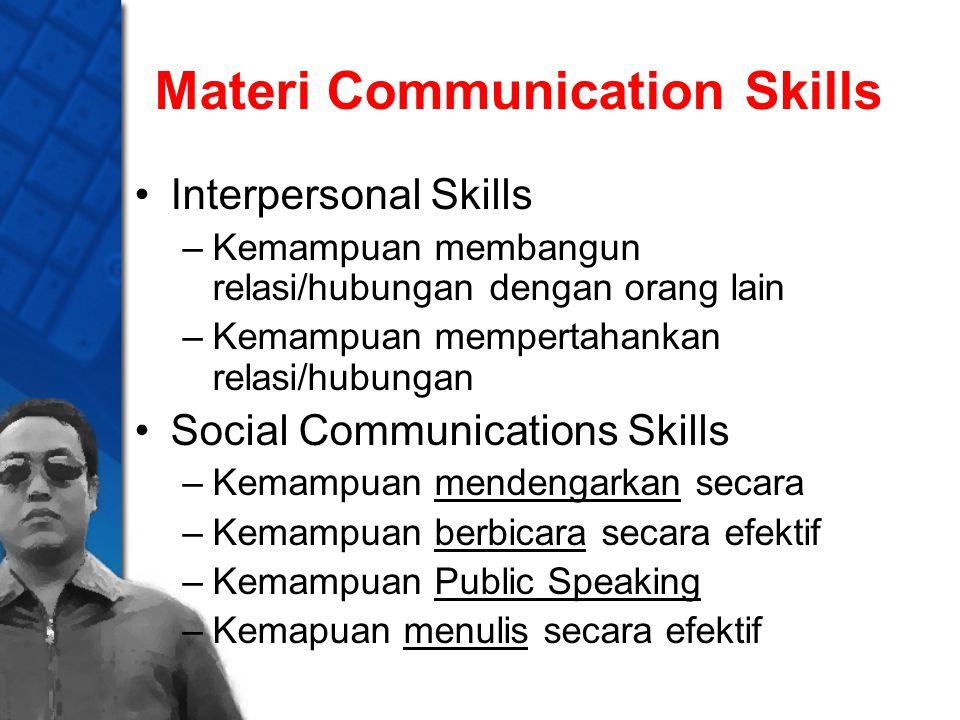 Materi Communication Skills Interpersonal Skills –Kemampuan membangun relasi/hubungan dengan orang lain –Kemampuan mempertahankan relasi/hubungan Soci