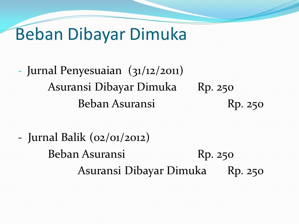 Beban Dibayar Dimuka - Jurnal Penyesuaian (31/12/2011) Asuransi Dibayar DimukaRp. 250 Beban AsuransiRp. 250 - Jurnal Balik (02/01/2012) Beban Asuransi