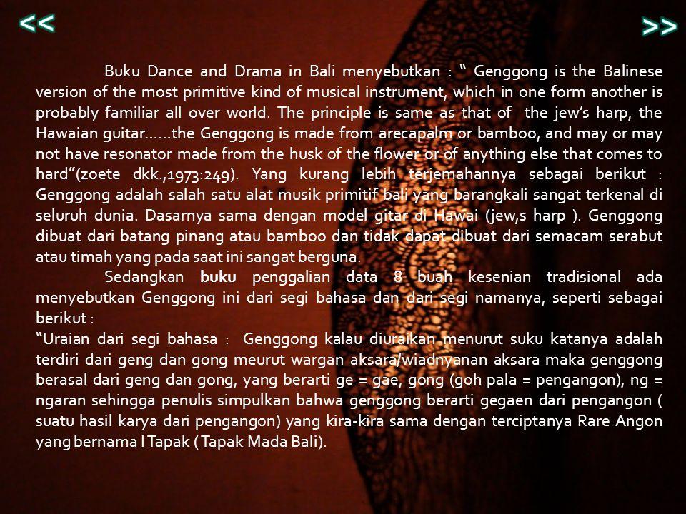 Uraian dari segi nama,,timbulnya genggong mungkin dari alat instrument tersebut waktu dihembus menimbulkan bunyi ngeng dan ngong, sehingga instrument itu dinamai Genggong (Proyek pengembangan Kantor Wilayah Dep.P dan K Propinsi Bali,1981/1982 : 114).
