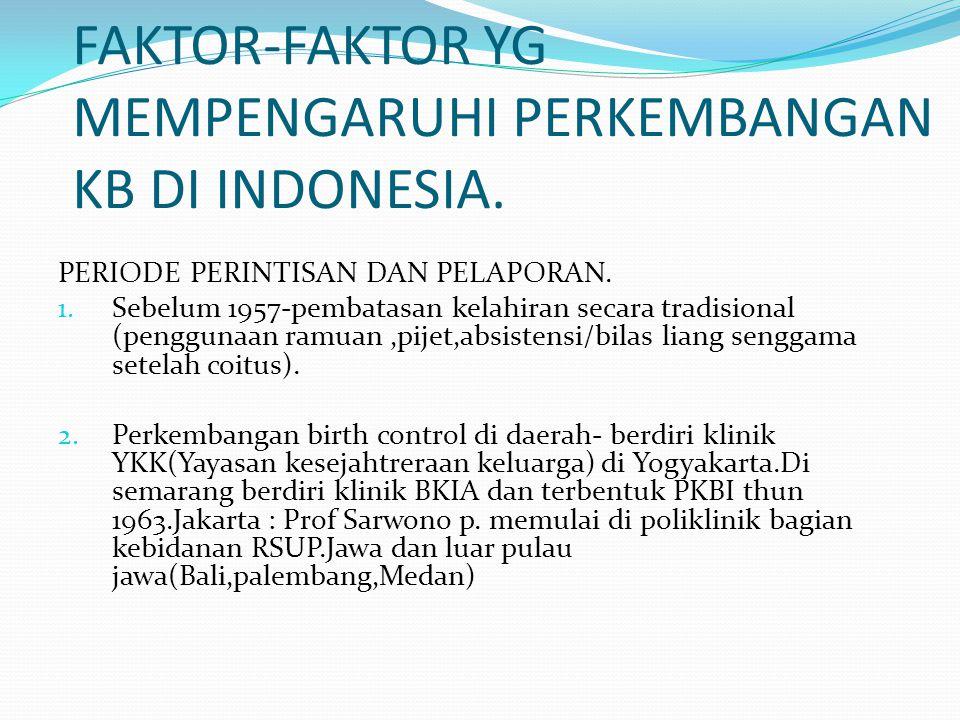 FAKTOR-FAKTOR YG MEMPENGARUHI PERKEMBANGAN KB DI INDONESIA. PERIODE PERINTISAN DAN PELAPORAN. 1. Sebelum 1957-pembatasan kelahiran secara tradisional