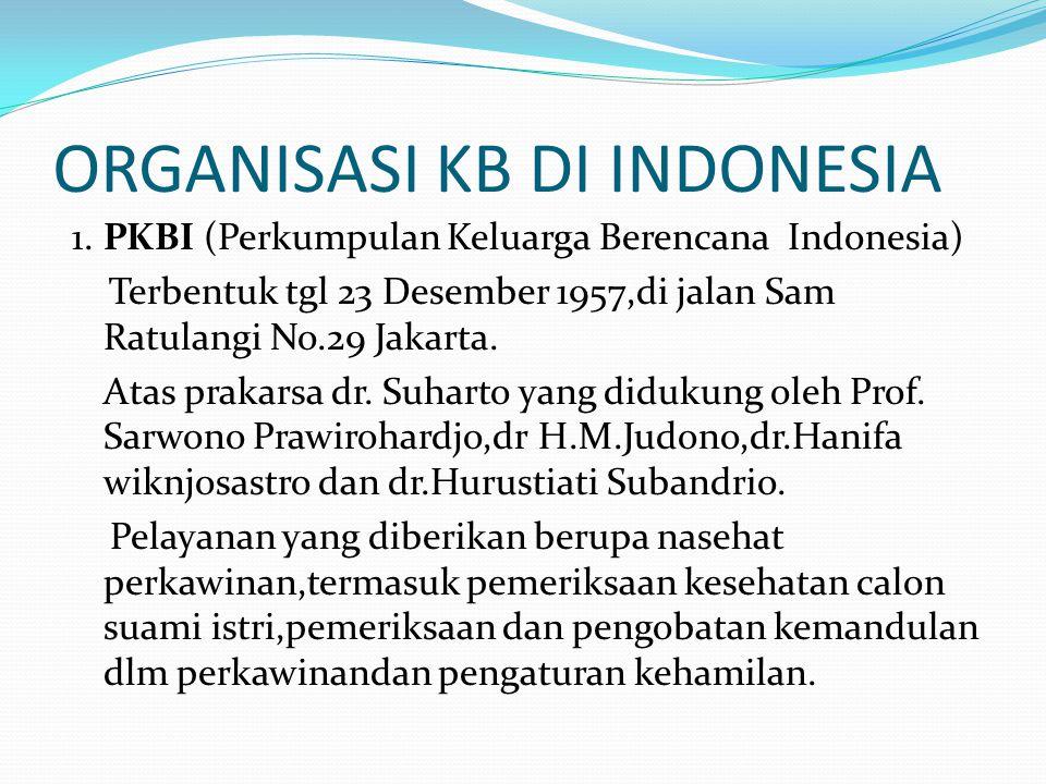 ORGANISASI KB DI INDONESIA 1.PKBI (Perkumpulan Keluarga Berencana Indonesia) Terbentuk tgl 23 Desember 1957,di jalan Sam Ratulangi No.29 Jakarta.