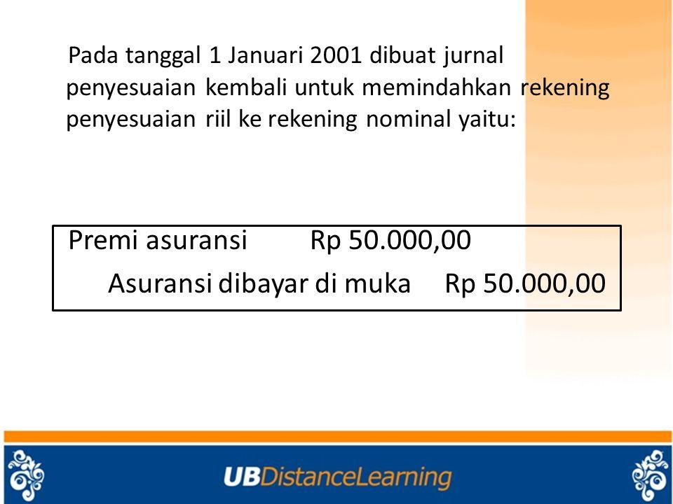Pada tanggal 1 Januari 2001 dibuat jurnal penyesuaian kembali untuk memindahkan rekening penyesuaian riil ke rekening nominal yaitu: Premi asuransiRp