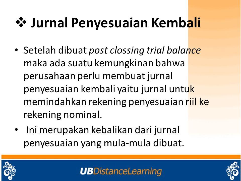  Jurnal Penyesuaian Kembali Setelah dibuat post clossing trial balance maka ada suatu kemungkinan bahwa perusahaan perlu membuat jurnal penyesuaian k
