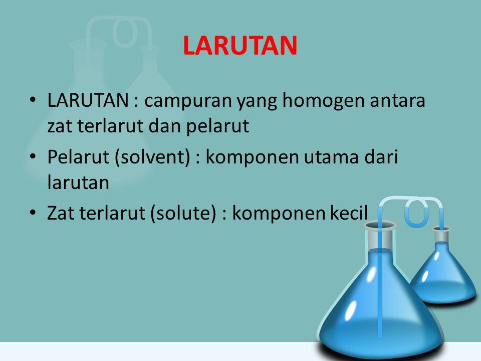 LARUTAN LARUTAN : campuran yang homogen antara zat terlarut dan pelarut Pelarut (solvent) : komponen utama dari larutan Zat terlarut (solute) : kompon