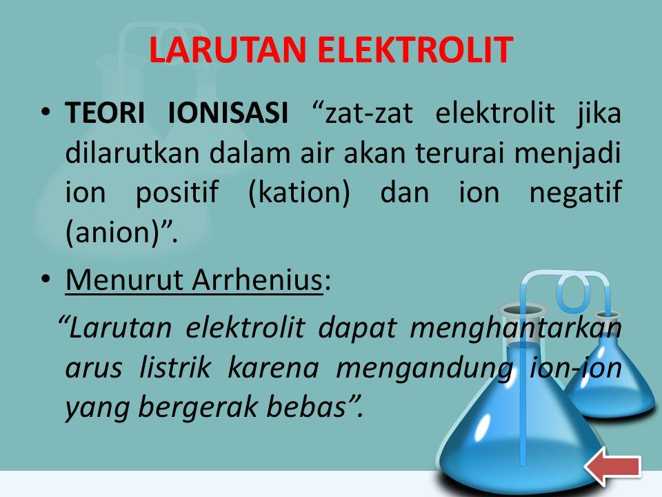 "LARUTAN ELEKTROLIT TEORI IONISASI ""zat-zat elektrolit jika dilarutkan dalam air akan terurai menjadi ion positif (kation) dan ion negatif (anion)"". Me"