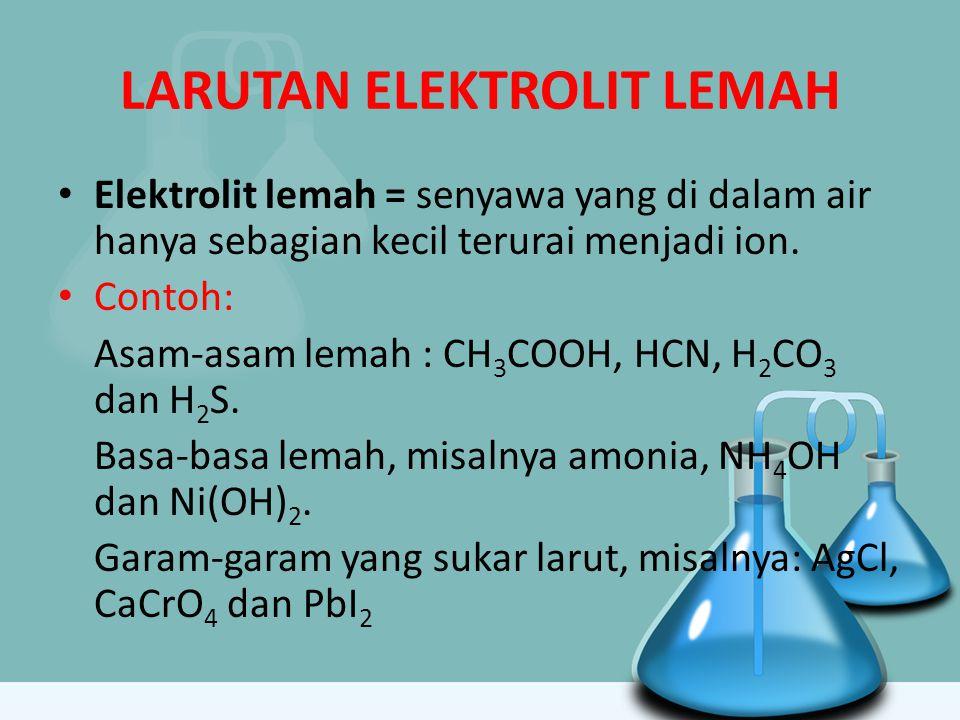 LARUTAN ELEKTROLIT LEMAH Elektrolit lemah = senyawa yang di dalam air hanya sebagian kecil terurai menjadi ion. Contoh: Asam-asam lemah : CH 3 COOH, H