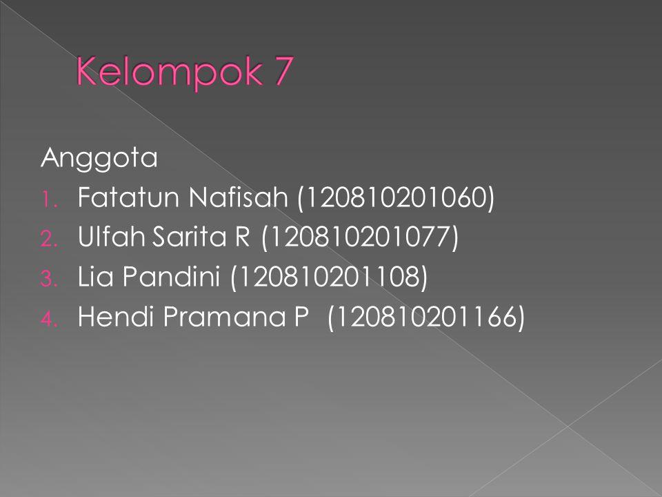 Anggota 1. Fatatun Nafisah (120810201060) 2. Ulfah Sarita R (120810201077) 3.