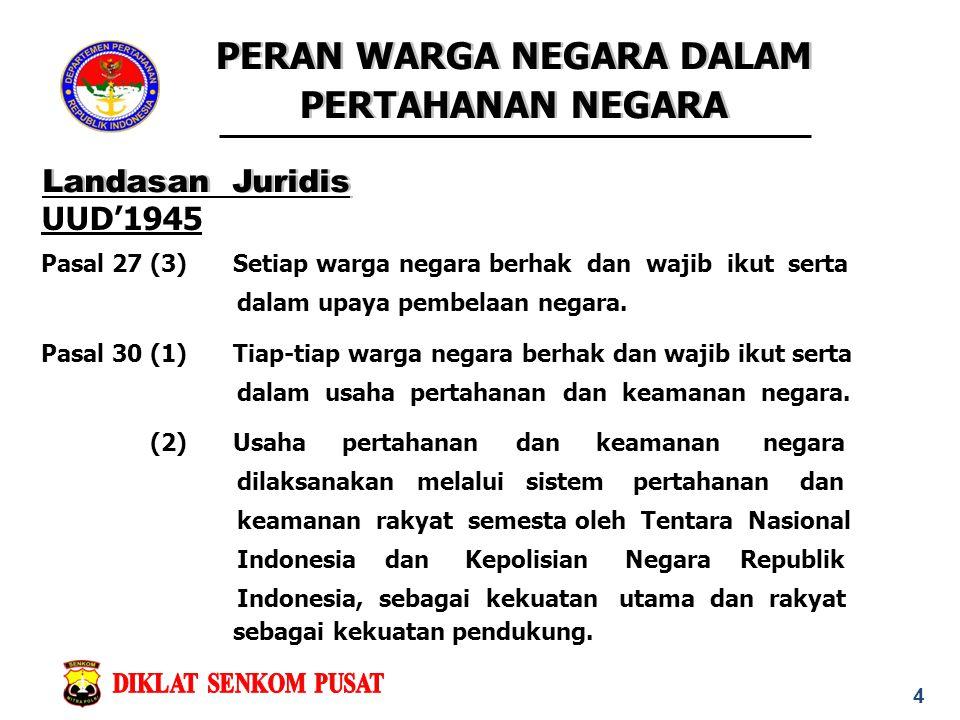 Landasan Juridis UUD'1945 Pasal 27 (3) Setiap warga negara berhak dan wajib ikut serta dalam upaya pembelaan negara.