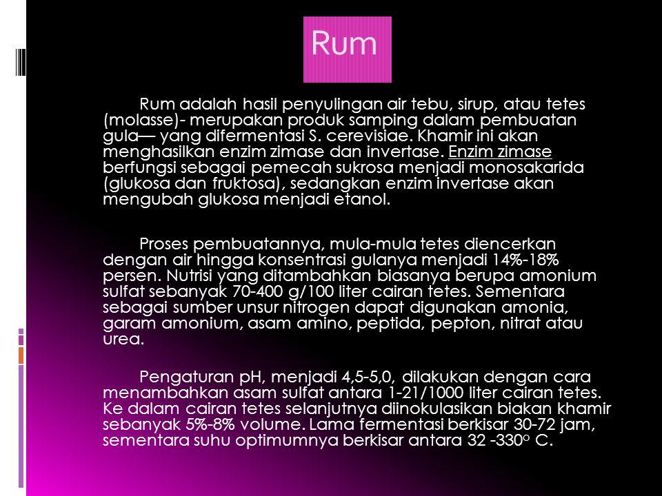Rum Rum adalah hasil penyulingan air tebu, sirup, atau tetes (molasse)- merupakan produk samping dalam pembuatan gula— yang difermentasi S. cerevisiae