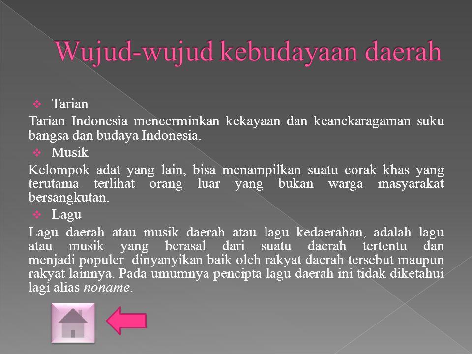  Tarian Tarian Indonesia mencerminkan kekayaan dan keanekaragaman suku bangsa dan budaya Indonesia.  Musik Kelompok adat yang lain, bisa menampilkan