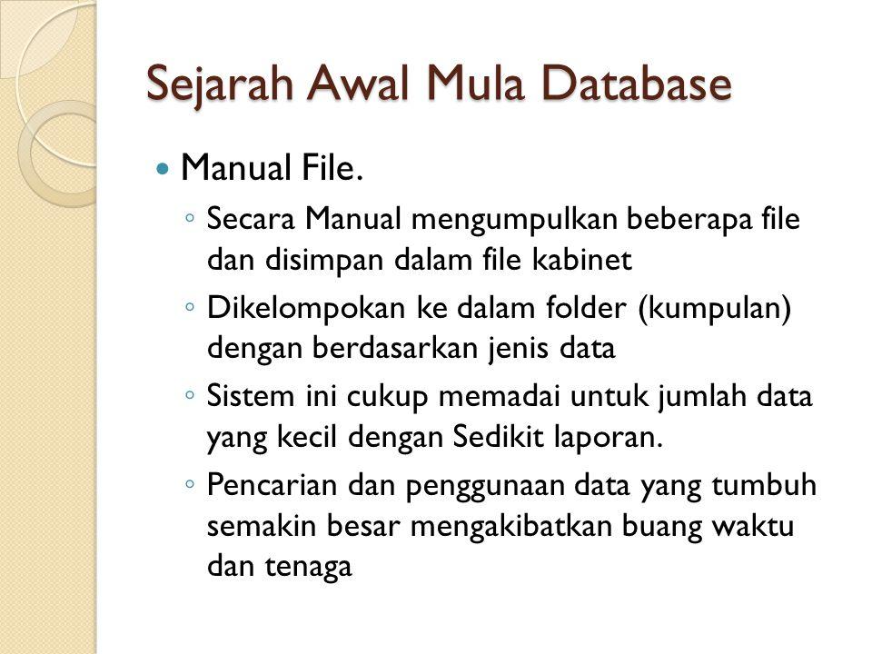Sejarah Awal Mula Database Konversi dari manual ke komputer file system ◦ Secara Teknik lebih komplek dan membutuhkan aplikasi yang menunjang ◦ Pencarian dilakukan dengan bantuan aplikasi yang komplek