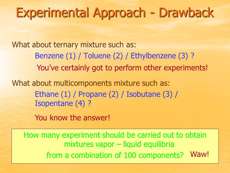 Experimental Approach - Drawback What about ternary mixture such as: Benzene (1) / Toluene (2) / Ethylbenzene (3) ? You've certainly got to perform ot