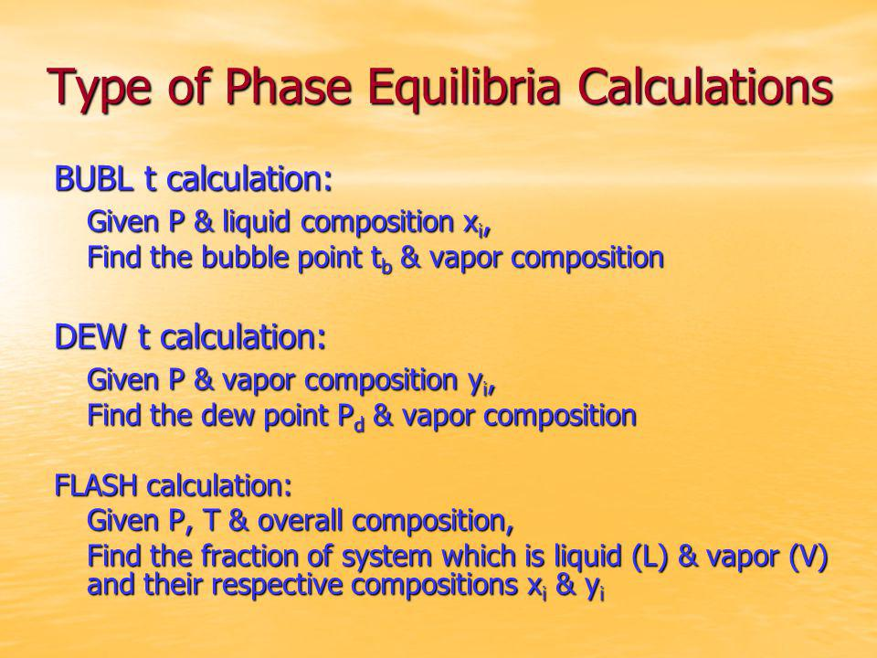 Type of Phase Equilibria Calculations BUBL t calculation: Given P & liquid composition x i, Find the bubble point t b & vapor composition DEW t calcul