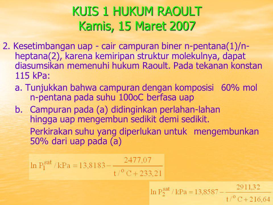 KUIS 1 HUKUM RAOULT Kamis, 15 Maret 2007 2. Kesetimbangan uap - cair campuran biner n-pentana(1)/n- heptana(2), karena kemiripan struktur molekulnya,