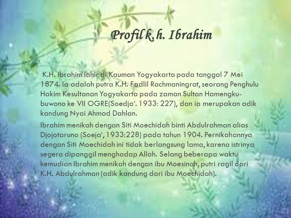 K.H. Ibrahim lahir di Kauman Yogyakarta pada tanggal 7 Mei 1874. Ia adalah putra K.H. Fadlil Rachmaningrat, seorang Penghulu Hakim Kesultanan Yogyak