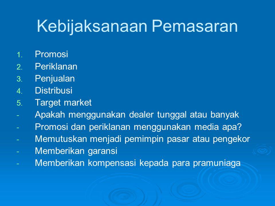 Kebijaksanaan Pemasaran 1. 1. Promosi 2. 2. Periklanan 3. 3. Penjualan 4. 4. Distribusi 5. 5. Target market - - Apakah menggunakan dealer tunggal atau