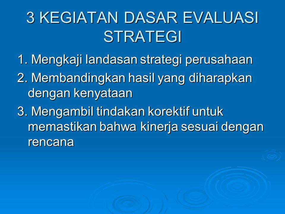 3 KEGIATAN DASAR EVALUASI STRATEGI 1. Mengkaji landasan strategi perusahaan 2. Membandingkan hasil yang diharapkan dengan kenyataan 3. Mengambil tinda