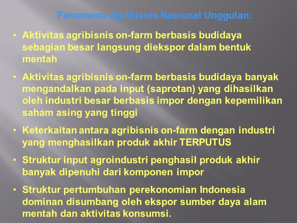 Fenomena Agribisnis Nasional Unggulan: Aktivitas agribisnis on-farm berbasis budidaya sebagian besar langsung diekspor dalam bentuk mentah Aktivitas agribisnis on-farm berbasis budidaya banyak mengandalkan pada input (saprotan) yang dihasilkan oleh industri besar berbasis impor dengan kepemilikan saham asing yang tinggi Keterkaitan antara agribisnis on-farm dengan industri yang menghasilkan produk akhir TERPUTUS Struktur input agroindustri penghasil produk akhir banyak dipenuhi dari komponen impor Struktur pertumbuhan perekonomian Indonesia dominan disumbang oleh ekspor sumber daya alam mentah dan aktivitas konsumsi.