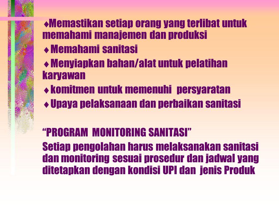  Memastikan setiap orang yang terlibat untuk memahami manajemen dan produksi  Memahami sanitasi  Menyiapkan bahan/alat untuk pelatihan karyawan  k