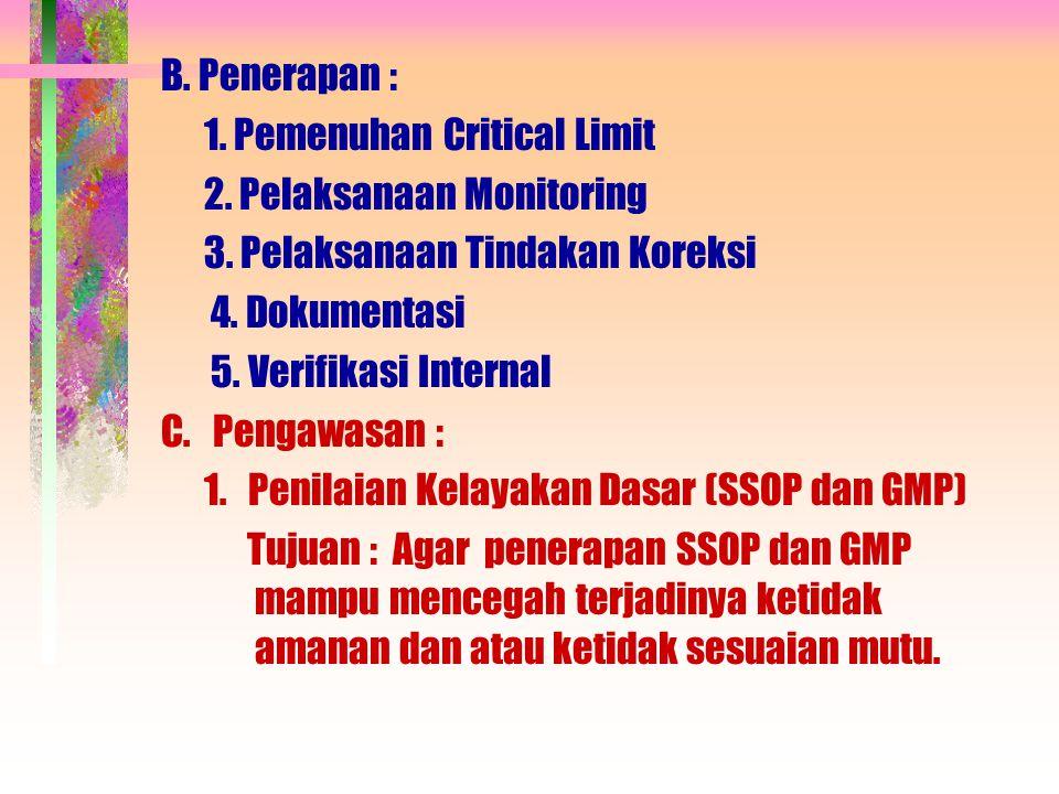 B. Penerapan : 1. Pemenuhan Critical Limit 2. Pelaksanaan Monitoring 3. Pelaksanaan Tindakan Koreksi 4. Dokumentasi 5. Verifikasi Internal C. Pengawas