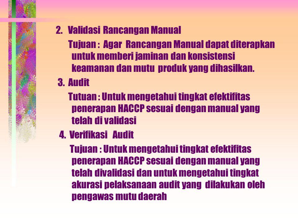 2. Validasi Rancangan Manual Tujuan : Agar Rancangan Manual dapat diterapkan untuk memberi jaminan dan konsistensi keamanan dan mutu produk yang dihas